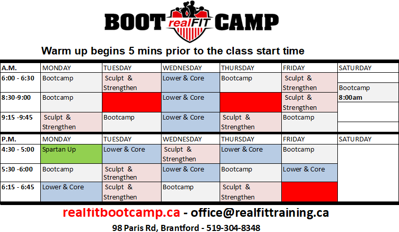 July + July 2019 realFIT Bootcamp Fitness Schedule